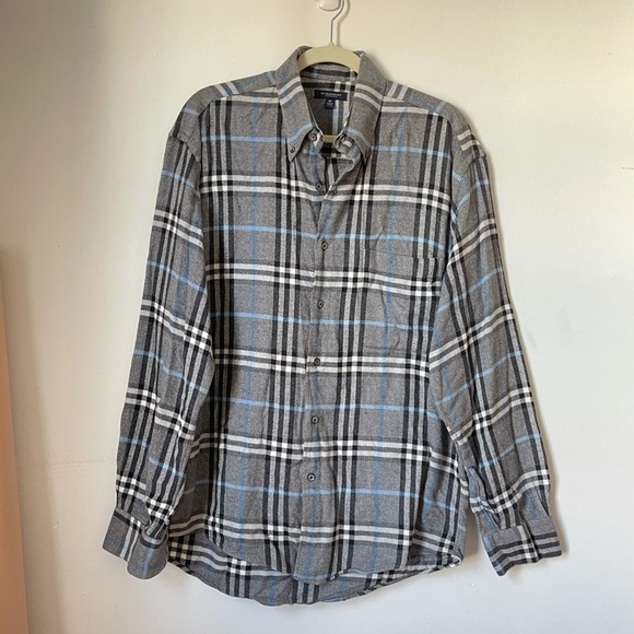 Burberry Other - Burberry Grey Plaid Flannel Button Down Shirt Sz M